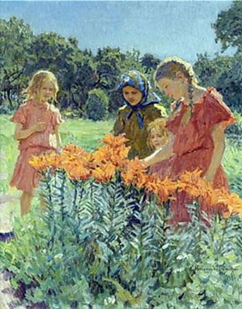 Gathering the Flowers - Nikolay Bogdanov-Belsky