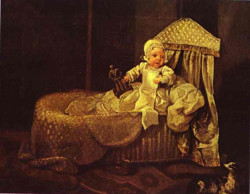 Gerard Anne Edwards in His Cradle  - William Hogarth
