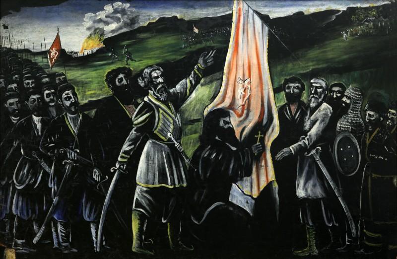 Giorgi Saakadze defending Georgia from enemies - Niko Pirosmani