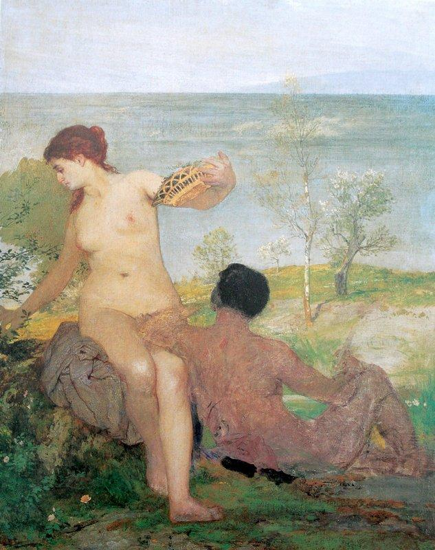 Girl and boy picking flowers - Arnold Bocklin