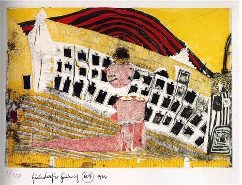 607 Girl-Finding in the Grass - Friedensreich Hundertwasser
