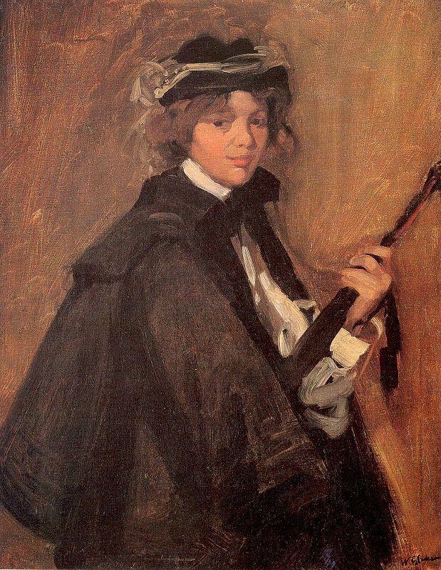 Girl in a Black Cape - William James Glackens