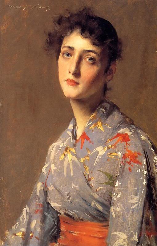 Girl in a Japanese Kimono - William Merritt Chase