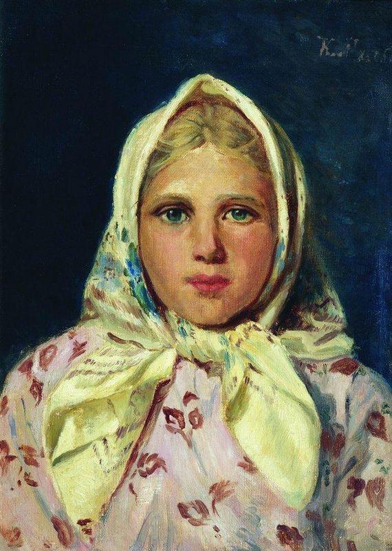 Girl in a Kerchief (Portrait of the Girl) - Konstantin Makovsky