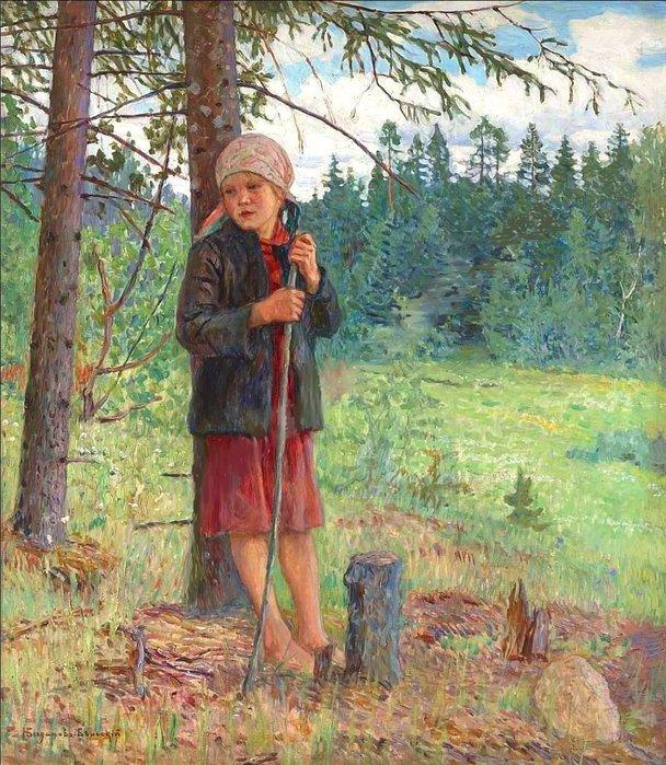 Girl in a Wood - Nikolay Bogdanov-Belsky
