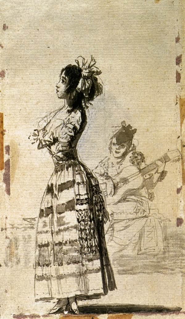 Girl Listening to a Guitar - Francisco Goya