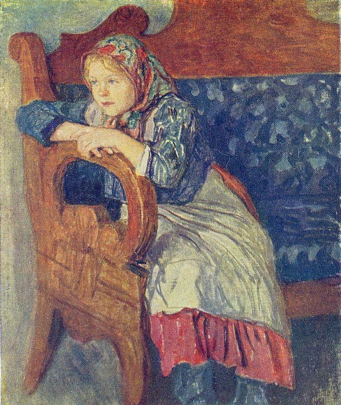 Girl on a Sofa - Nikolay Bogdanov-Belsky