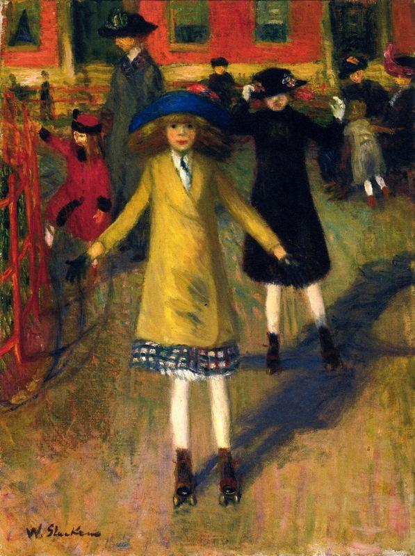 Girl Roller-Skating, Washington Square - William James Glackens