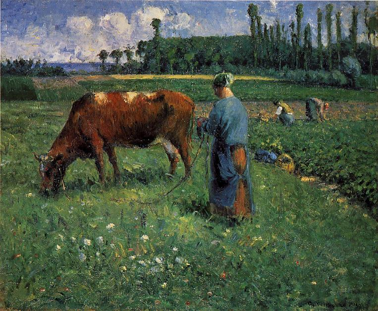 Girl Tending a Cow in Pasture - Camille Pissarro