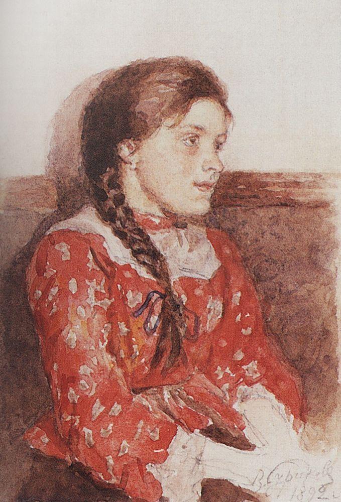 Girl with a red jacket - Vasily Surikov