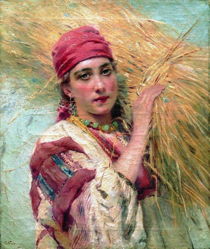 Girl with a sheaf - Konstantin Makovsky