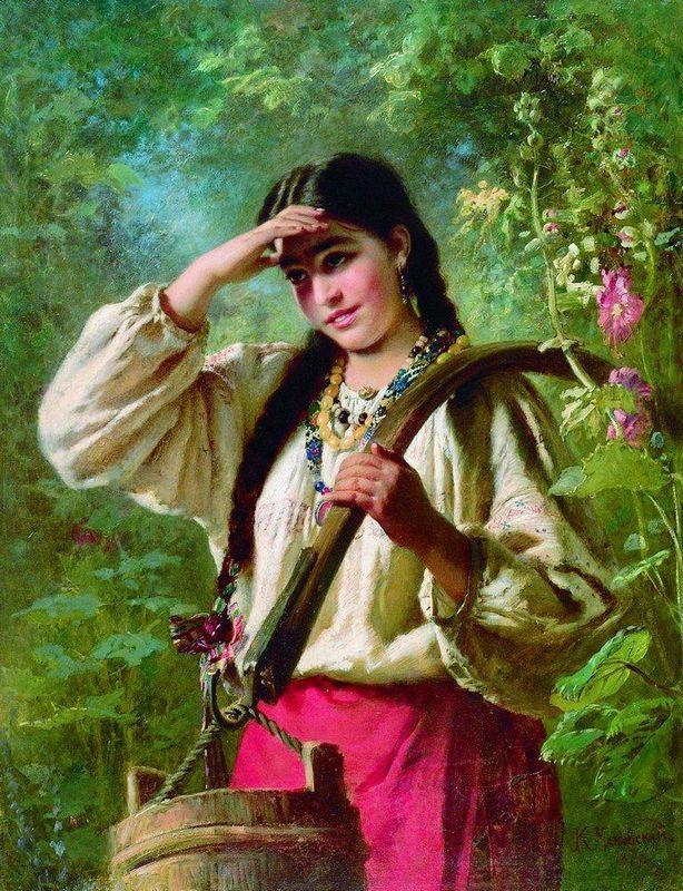 Girl with a yoke - Konstantin Makovsky