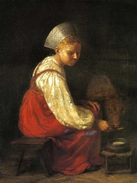 Girl with Culf - Alexey Venetsianov
