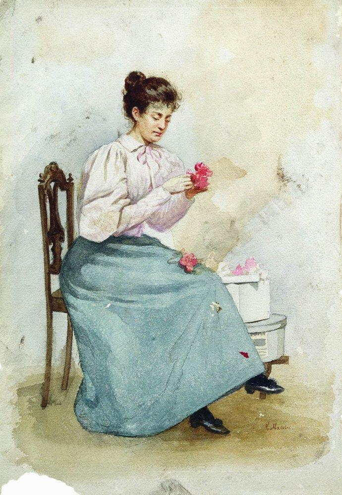 Girl with flowers - Konstantin Makovsky