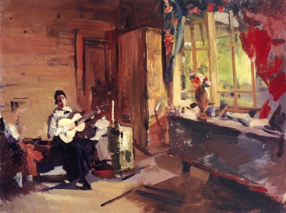 Girl with guitar  - Konstantin Korovin