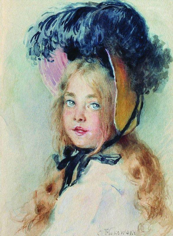 Girl with Hat - Konstantin Makovsky