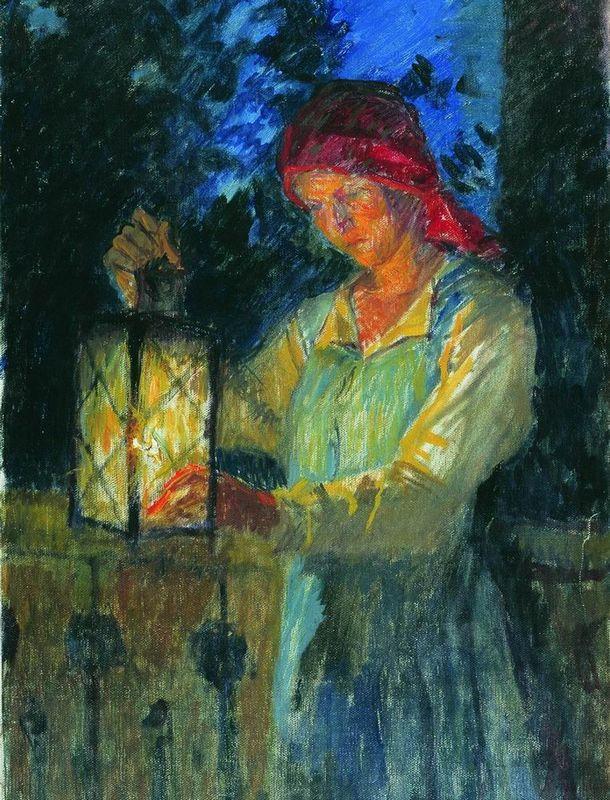 Girl with Latern - Nikolay Bogdanov-Belsky