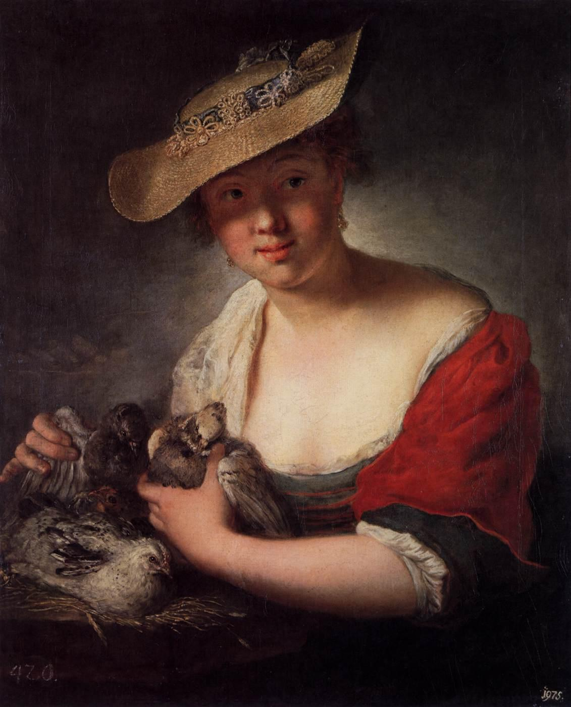 Girl with Pigeons - Antoine Pesne