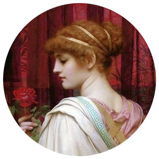 Girl with Red Rose - John William Godward