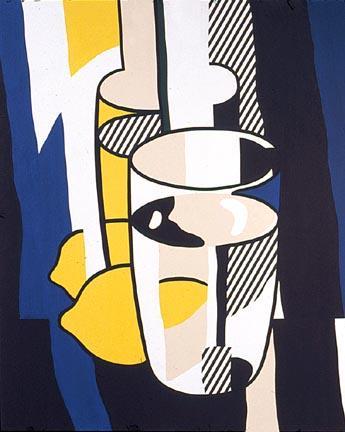 Glass and lemon in a mirror - Roy Lichtenstein