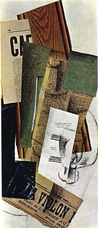 Glass Carafe and Newspapers - Georges Braque