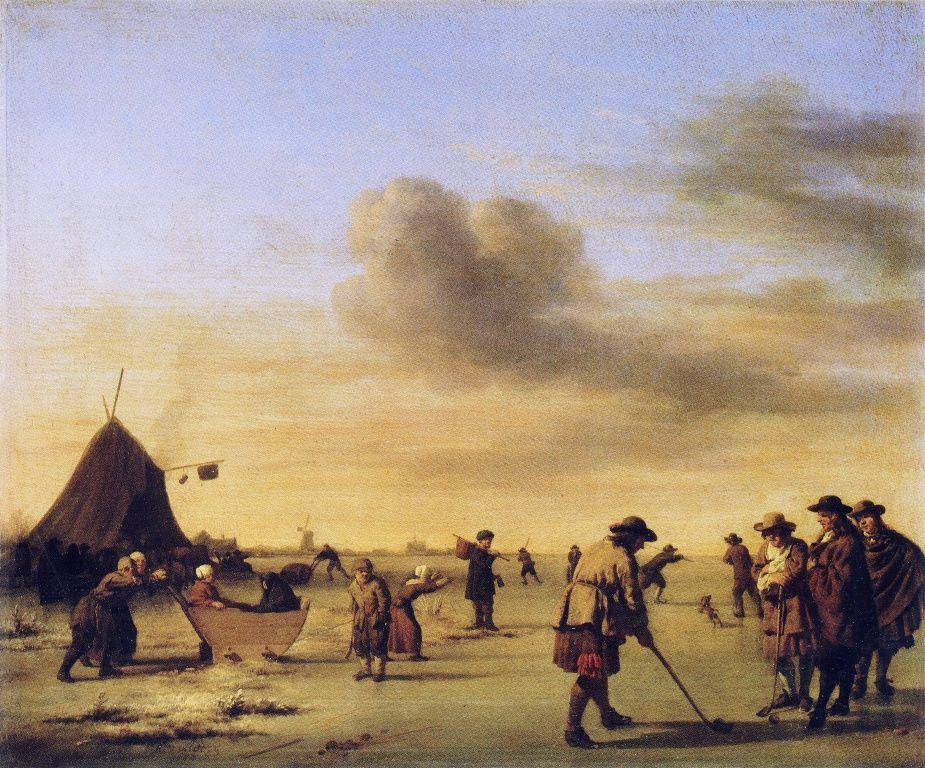 Golfers on the Ice near Haarlem - Adriaen van de Velde