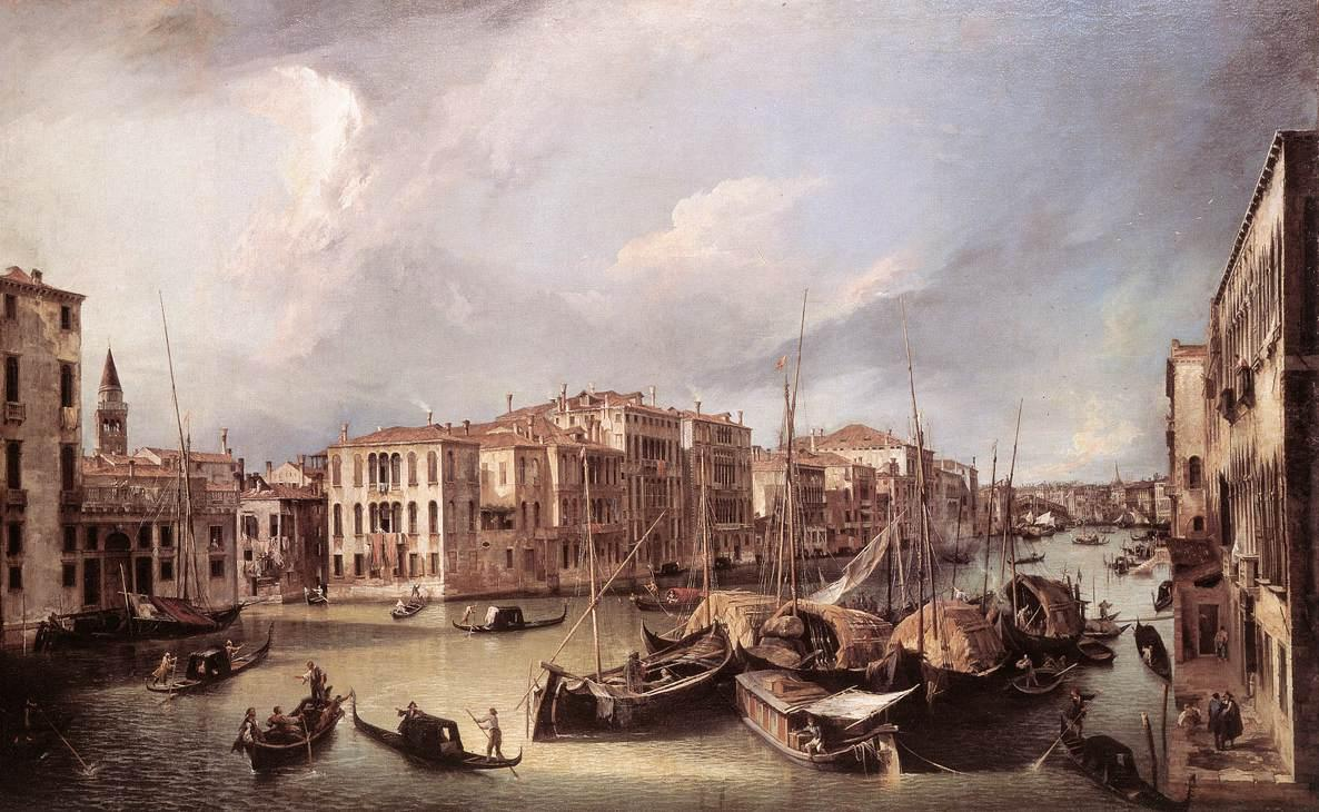 Grand Canal: Looking North East toward the Rialto Bridge - Canaletto