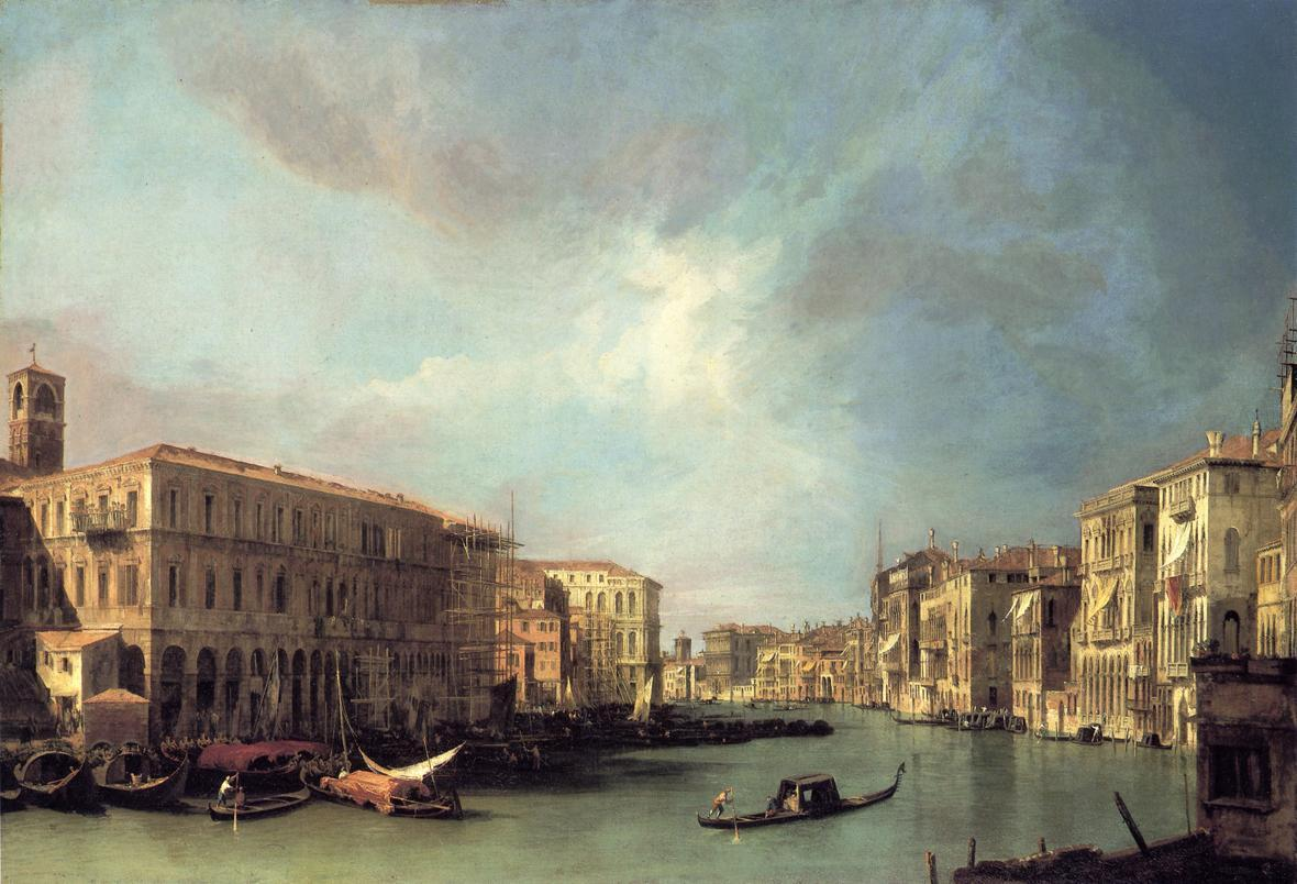 Grand Canal Looking North from near the Rialto Bridge - Canaletto