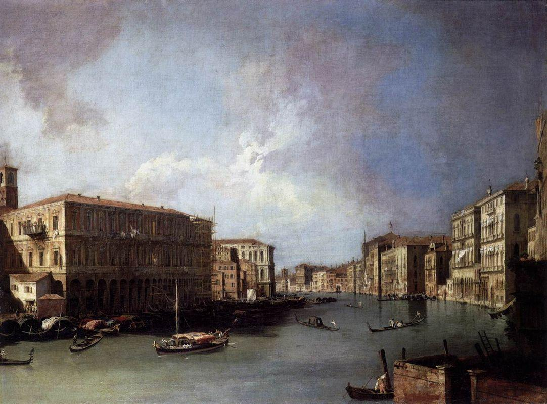 Grand Canal: Looking North from Nethe Rialto Bridge - Canaletto