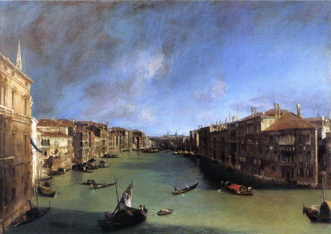 Grand Canal Looking Northeast from the Palazzo Balbi to the Rialto Bridge - Canaletto