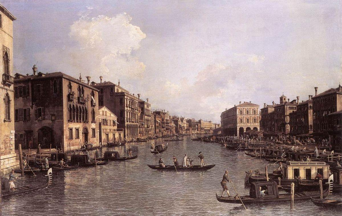 Grand Canal: Looking South East from the Campo Santa Sophia to the Rialto Bridge - Canaletto