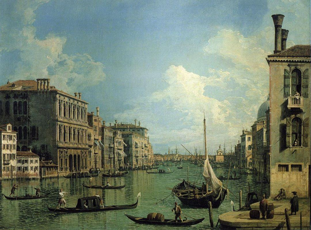 Grand Canal Nethe Campo San Vio, Looking Towards the Church of SanMaria della Salute - Canaletto