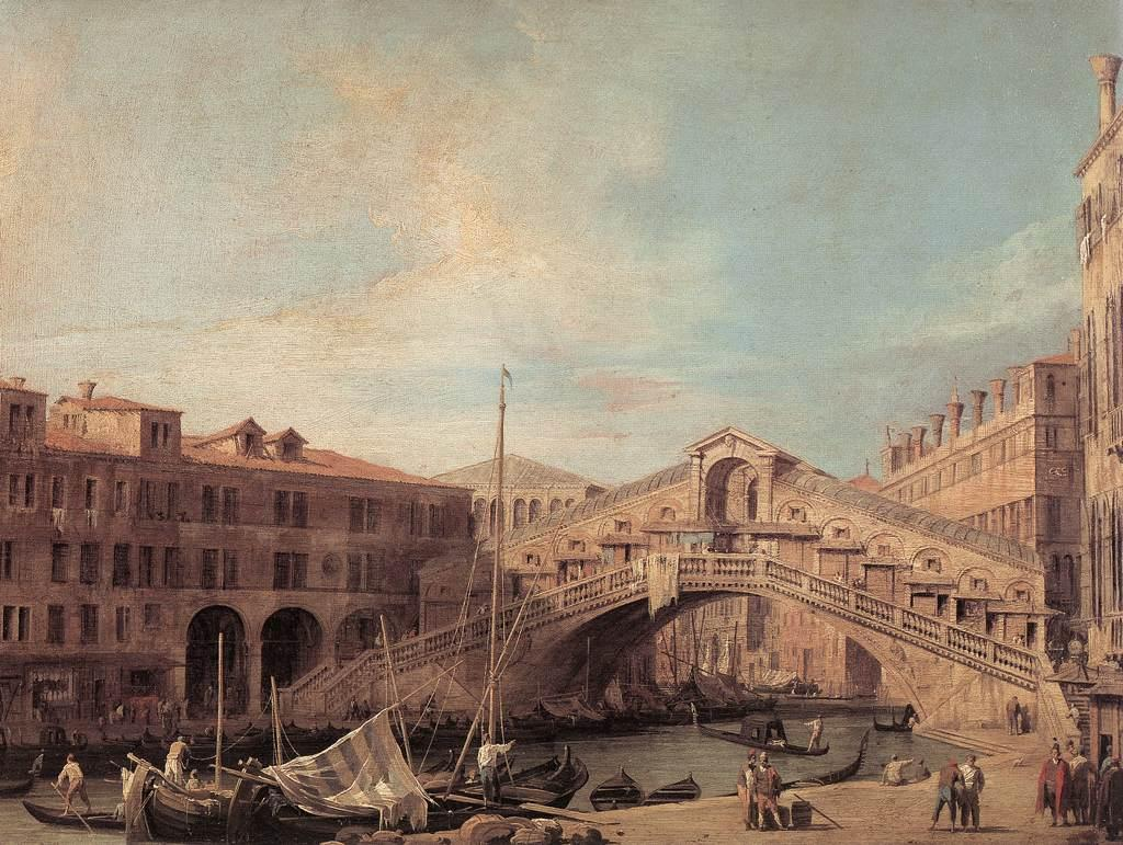 Grand Canal. The Rialto Bridge from the South. - Canaletto