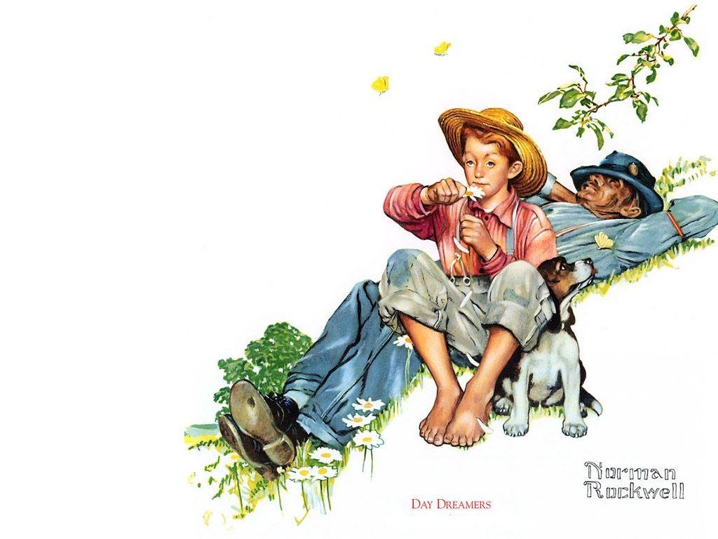 Grandpa and Me picking daisies - Norman Rockwell