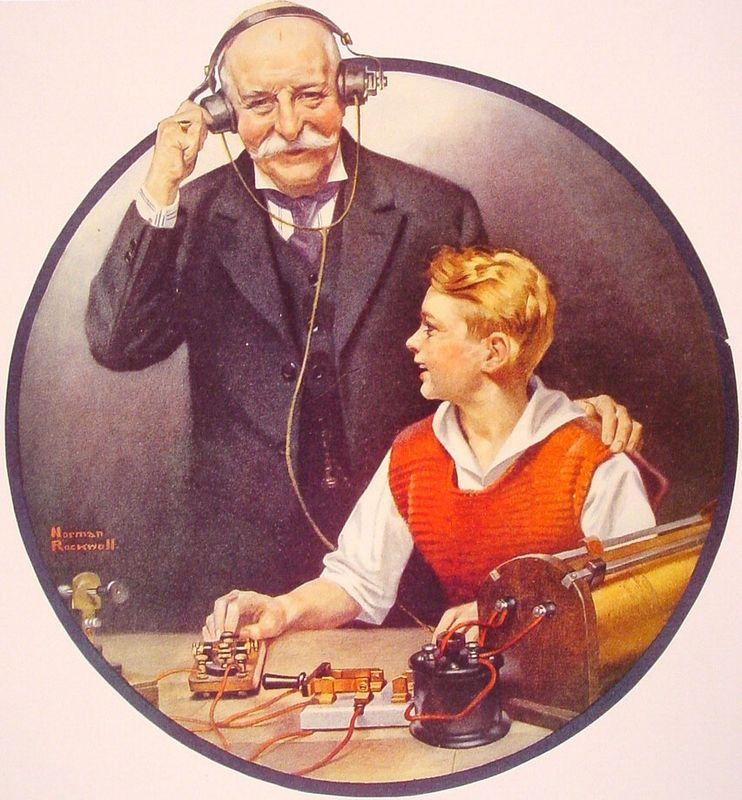 Grandpa Listening In on the Wireless - Norman Rockwell