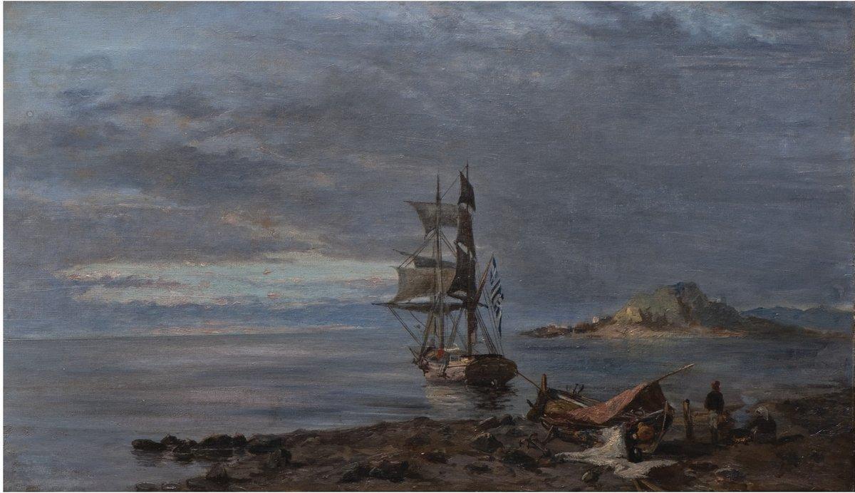 Greek frigate at anchor - Konstantinos Volanakis