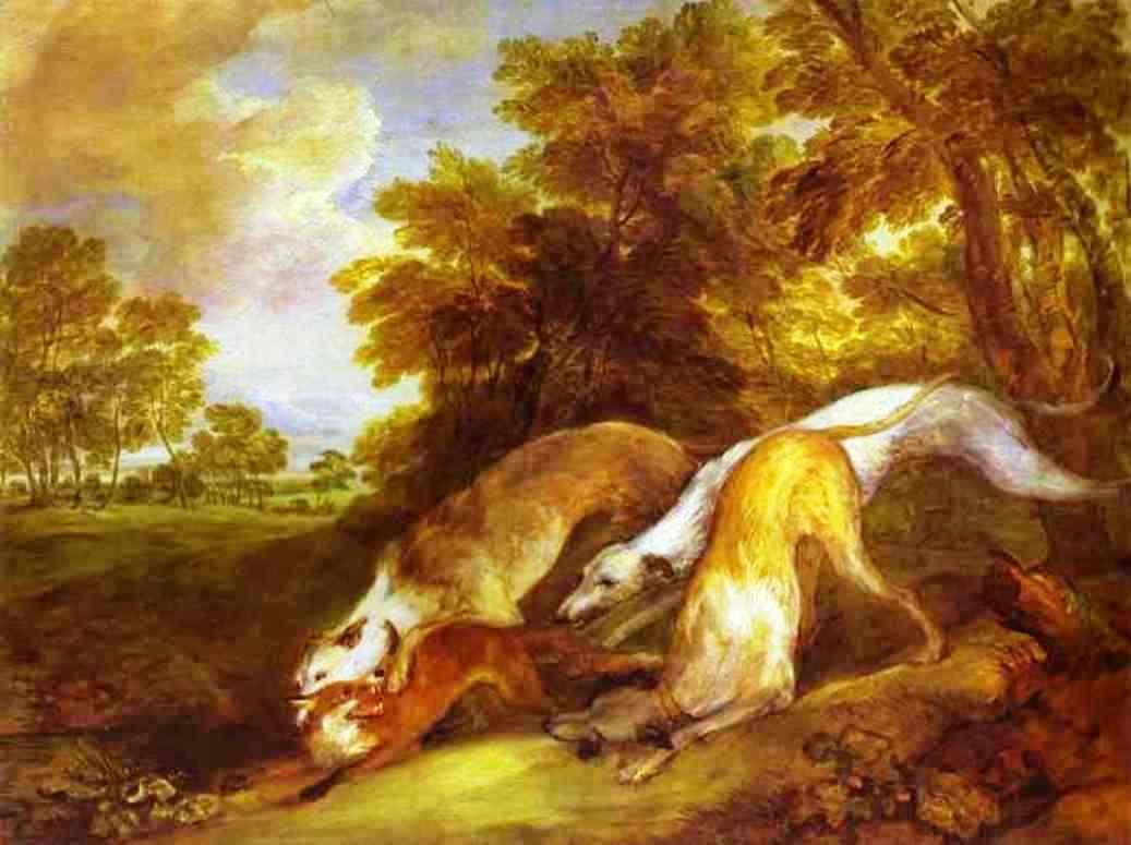 Greyhounds coursing a fox  - Thomas Gainsborough
