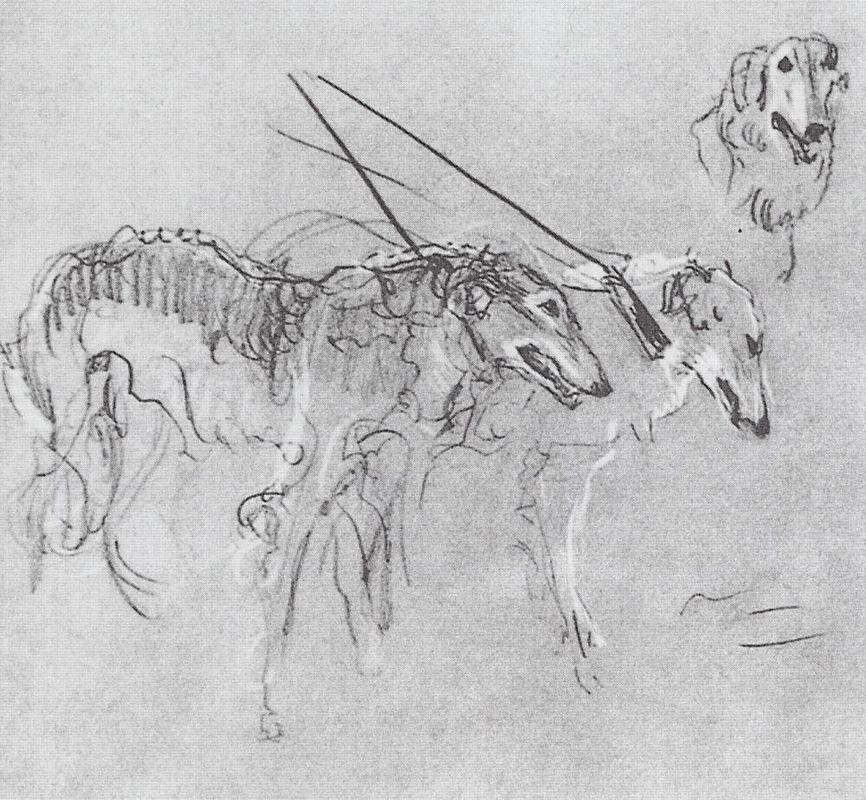Greyhounds royal hunting - Valentin Serov