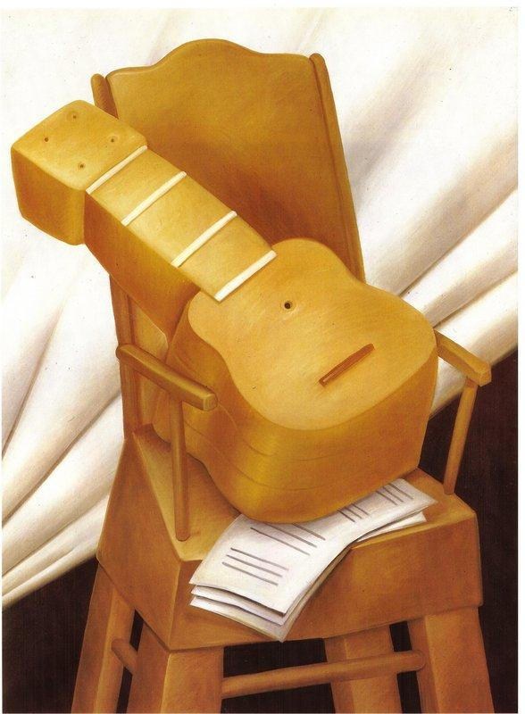 Guitar and Chair - Fernando Botero