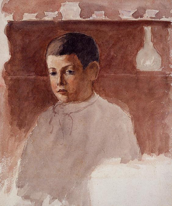 Half Length Portrait of Lucien Pissarro - Camille Pissarro