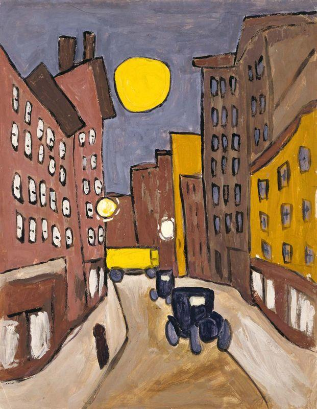 Harlem Street Scene with Full Moon - William H. Johnson