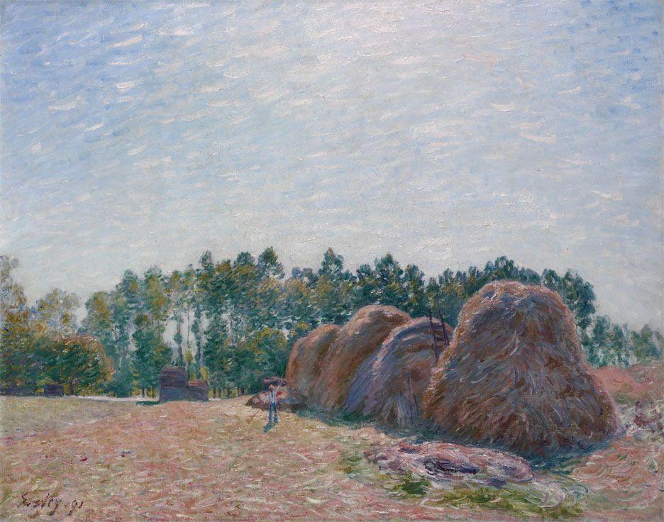 Haystacks at Moret Morning Light - Alfred Sisley