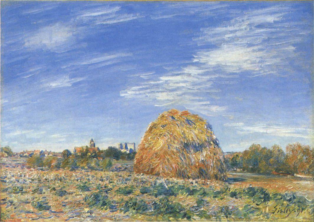 Haystacks in Moret in October - Alfred Sisley