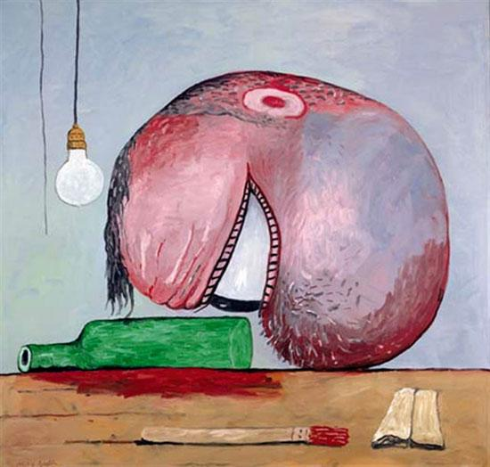 Head and Bottle - Philip Guston
