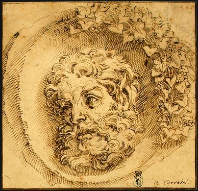 Head of a Faun in a Concave - Agostino Carracci