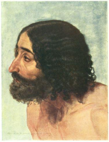 Head of a man. Study of the figure of paralytic for the painting