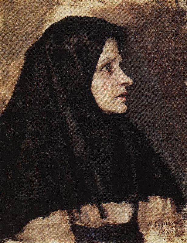Head of a woman in black shawl - Vasily Surikov