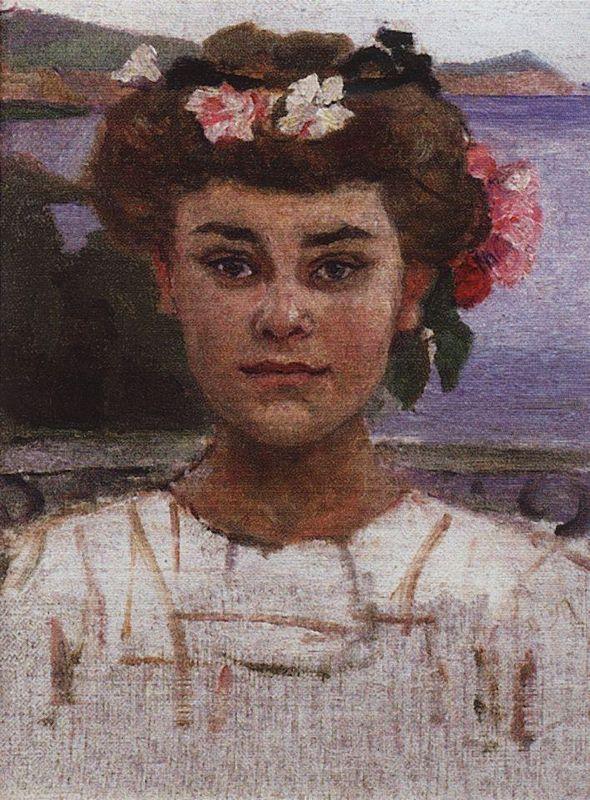 Head of girl. Portrait of Z. S. Khaminova. - Vasily Surikov