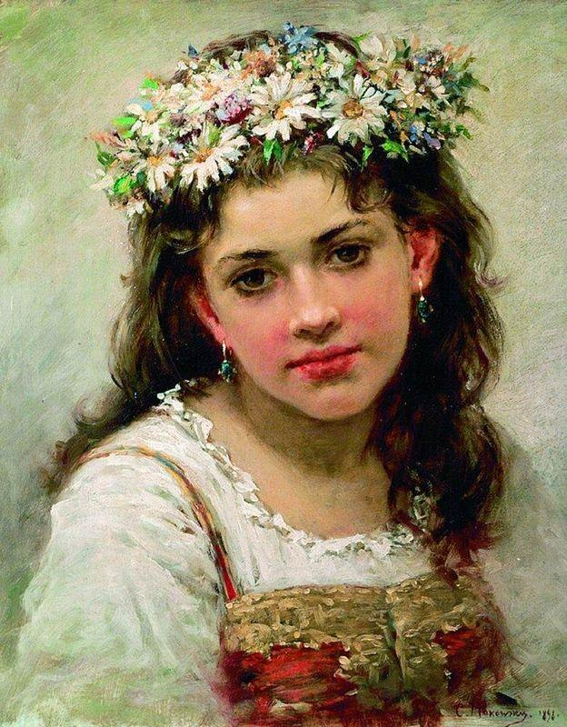 Head of the Girl - Konstantin Makovsky