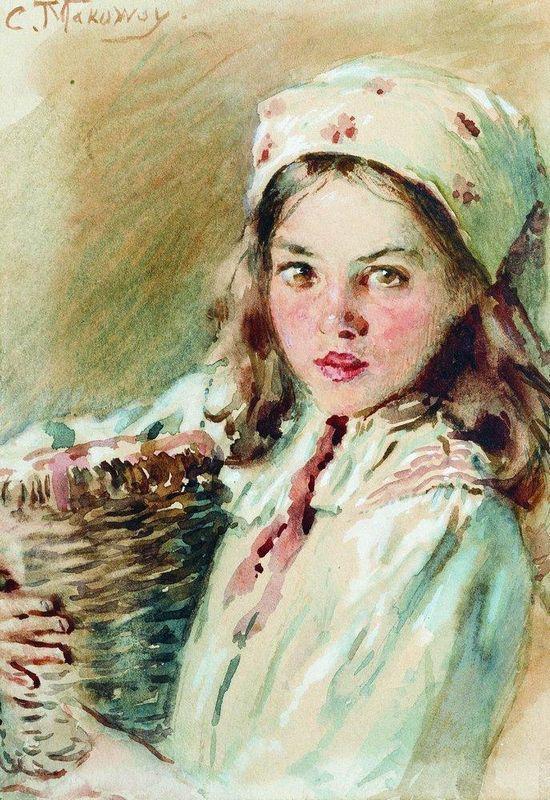 Head of the Girl in a Kerchief - Konstantin Makovsky